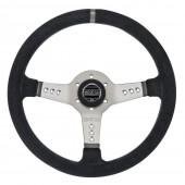 Sparco L777 Steering Wheel (63 mm Dish), Black Suede, Aluminium Spokes