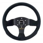 Sparco P300 Flat Steering Wheel, Black Suede, Black Spokes