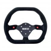 Sparco P310 Flat Steering Wheel, Black Suede, Black Spokes