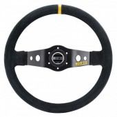 Sparco R215 Steering Wheel (90 mm Dish), Black Leather, Black Spokes