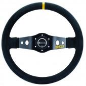 Sparco R215 Steering Wheel (90 mm Dish), Black Suede, Black Spokes