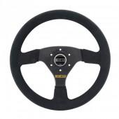 Sparco R323 Steering Wheel (39 mm Dish), Black Suede, Black Spokes