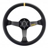 Sparco R325 Steering Wheel (95 mm Dish), Black Suede, Black Spokes