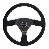 Sparco R333 Steering Wheel (39 mm Dish), Black Suede, Black Spokes