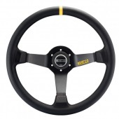 Sparco R345 Steering Wheel (63 mm Dish), Black Leather, Black Spokes