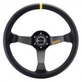 Sparco R345 Steering Wheel (63 mm Dish), Black Suede, Black Spokes