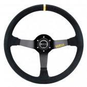 Sparco R368 Steering Wheel (65 mm Dish), Black Suede, Black Spokes