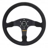 Sparco R375 Steering Wheel (36 mm Dish), Black Suede, Black Spokes