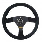 Sparco R383 Steering Wheel (39 mm Dish), Black Suede, Black Spokes