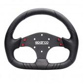 Sparco P104 Sport Flat Steering Wheel, Black Leather, Black Spokes