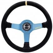Sparco L550 Steering Wheel (63 mm Dish), Black Suede, Aluminium Spokes
