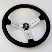 Nardi Deep Corn Steering Wheel - Perf. Leather with Satin Spokes & Red Stitching - 350mm