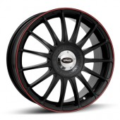 "Team Dynamics Monza RS, 17x7.0"" Noir Mat / Satiné, Liseret Rouge"