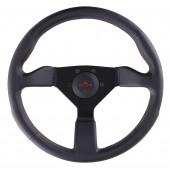 Volant Personal Neo Grinta (350 mm), Cuir Noir, Branches Noires, Coutures Rouges