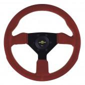 Volant Personal Grinta (330 mm), Cuir Rouge Retourné, Branches Noires, Coutures Jaunes