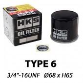 "HKS Type 6 Sports Oil Filter | 3/4""-16 UNF (Suzuki Swift Sport, Kei Cars Toyota, Subaru, Daihatsu...)"
