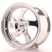 "Japan Racing JR-15 17x8"" (4 & 5 hole custom PCD) ET35, Chrome / Titanium"