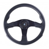 Nardi Challenge Steering Wheel - Leather with Black Spokes - 350mm