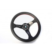 Nardi Deep Corn Steering Wheel - Perf. Leather with Black Spokes & Red Stitching - 330mm